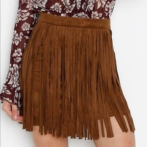 BB Dakota brown fringe skirt
