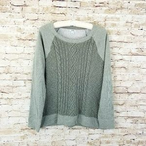 LL Bean sweatshirt L green cable knit front