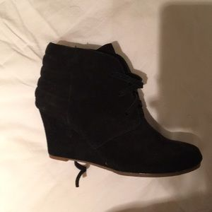 New black suede Dolce wedge heels