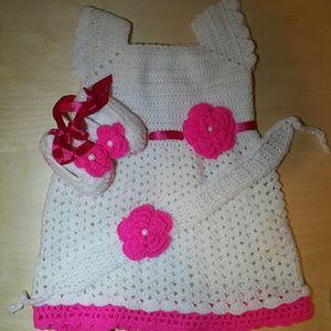 Other - New handmade crochet baby dress shoes headband