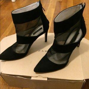 Mesh and suede black bootie heels