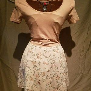 F21 Blush Floral Skater Skirt
