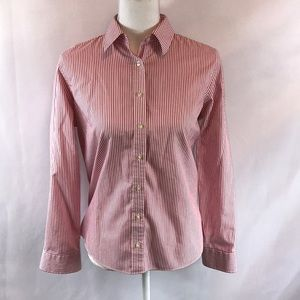 Lands End Pink and White No Iron Button Down 14P