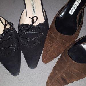 2 pairs of Manolo Blahnik Classic Kitten Heels