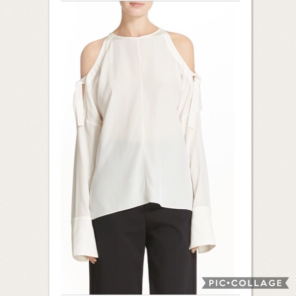 e781a67f0582a Tibi ivory tie sleeve cold shoulder blouse NWT
