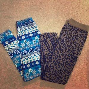 Pants - Two Pair of Fleece Lined PRINTED Leggings!!!