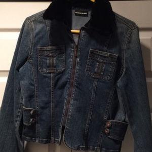 DKNY Denim Jacket with REAL Mink Fur trim