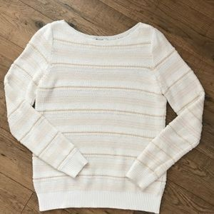 Madewell peach and white sweater