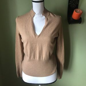 The Limited Stretch Brown Tan V Neck Sweater Sz M