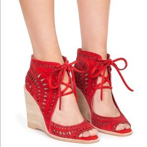 JEFFREY CAMPBELL Rodillo Wedges in Red Suede