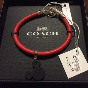 Disney x Coach Red Leather Mickey Ears Bracelet
