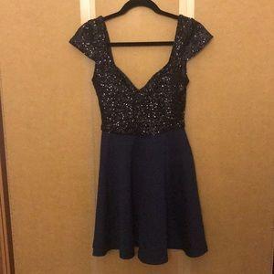 euc • ASOS • navy blue sequined skater dress