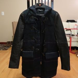 Zara Checked Duffle Coat w/ Faux Leather Sleeves