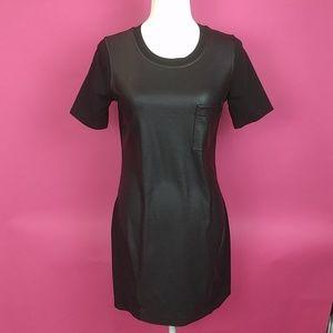 BCBG black short sleeve leather pu shirt dress S