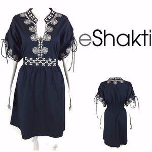 eShakti Navy Embroidered Peasant Dress Plus Sz 2X