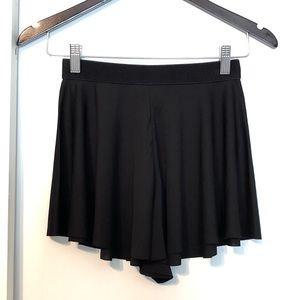 Black Flowy Circle Mini Skirt Skort Shorts