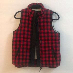 Madewell buffalo plaid Sherpa lined vest