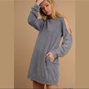 Mineral Washed Cutout Sleeve Pocket Sweater Dress