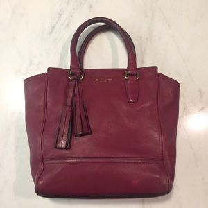 COACH Legacy Mini Tanner Satchel Bag Burgundy/Wine