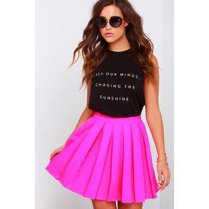 Forever 21 Magenta Satin Pleated Skater Skirt