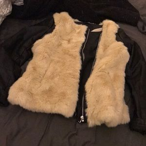 ASOS faux fur jacket with faux leather detail