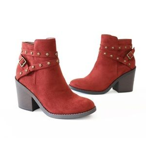 fly rust faux suede booties