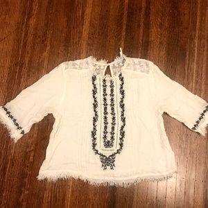 White embroidered blouse boho kimchi blue