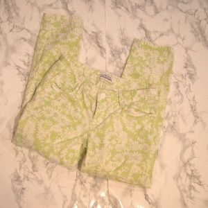 AEROPOSTALE Green + White Flower Cropped Jeggings