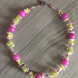 "22"" Stone and Beaded Necklace - pink/lime green"