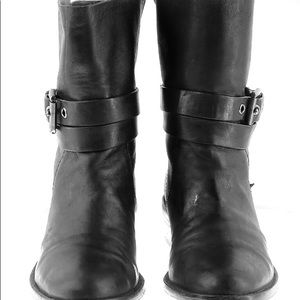 Coach black leather Jesika ankle moto boots