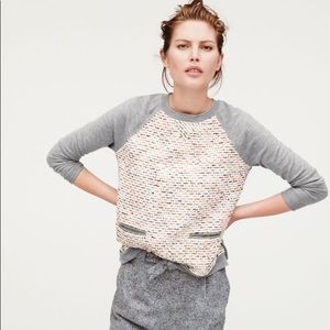J Crew Tweed-front merino sweater S