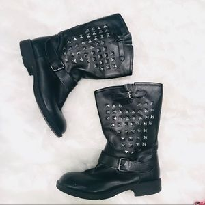 Shoes - Black Silver Studded Boots 8