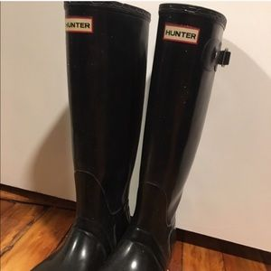 Black with sparkles Hunter boots