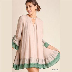 Bohemian Ruffle Crochet Dress W Tassel sleeve Ties