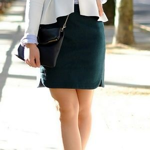 J. Crew Shirttail Mini Skirt in Forest Green