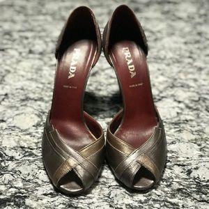 Prada metallic gray peep toe pumps