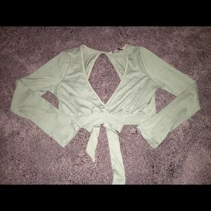 Olive Green, Low-cut, Open Back Crop Top