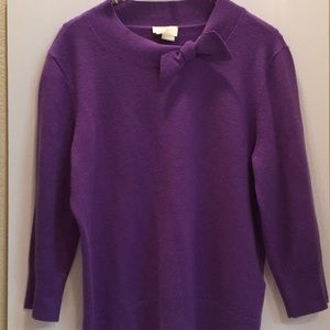 KATE SPADE Cashmere Wool Blend PURPLE knit BOW L