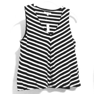Madewell cotton linen striped v-neck tank