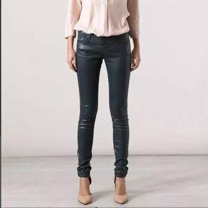 AG Adriano Goldschmied Dk Green Skinny Waxed Jeans