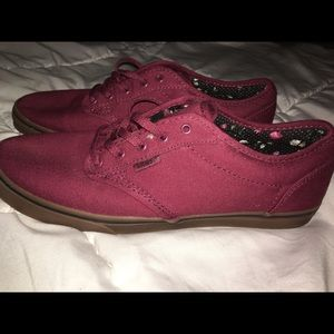 Authentic All Burgundy Vans with Gum Sole