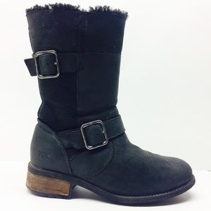 UGG Black Leather Wool Lined Boots