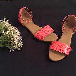 Coral Scalloped Sandals