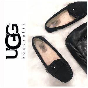 UGG THELMA Black Suede Loafers Moccassin 1681