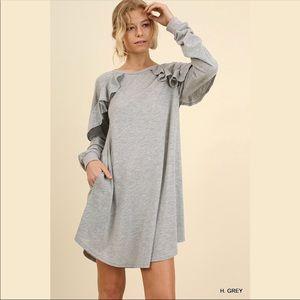 Ruffled Long Sleeve Pocket Dress