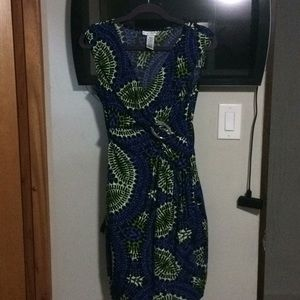 London style blue and green dress