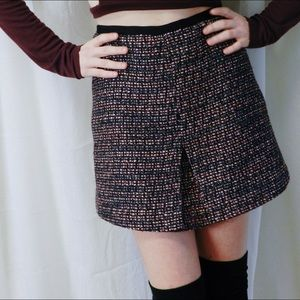 pink and black tweed a-line skirt