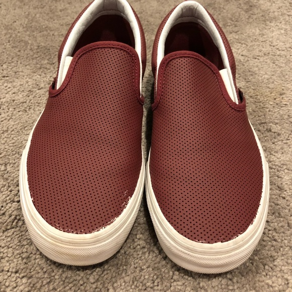 2b6f005dd862 Vans Slip Ons- Maroon Perforated Leather- size 8.5.  M 5a2df705f092829fe101f22a