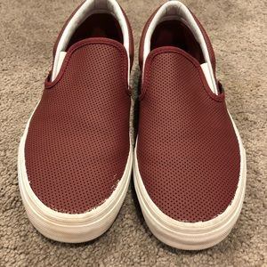 Vans Slip Ons- Maroon Perforated Leather- size 8.5