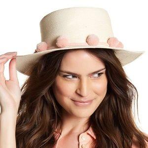 bcbg // cream sun hat w/ pale pink pom-pom accents